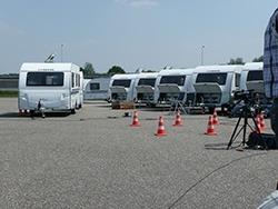ANWB KCK Movertest opstelling van de Adria caravans