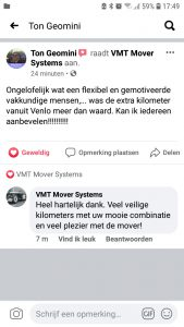 Recensie Facebook VMT Mover Systems